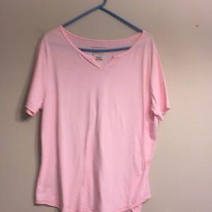 Women's split neck t-shirt.